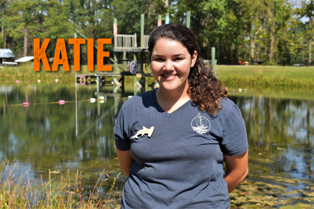 Hello, my name is Katie Lewia. I am the Environmental Education Coordinator here at Camp Don Lee. I am so excited to work with everyone this season. I have a degree from North Carolina State University and have been working at camp for 4 years now! My favorite Disney character is Ariel because she is a mermaid! (yes, they are real!)