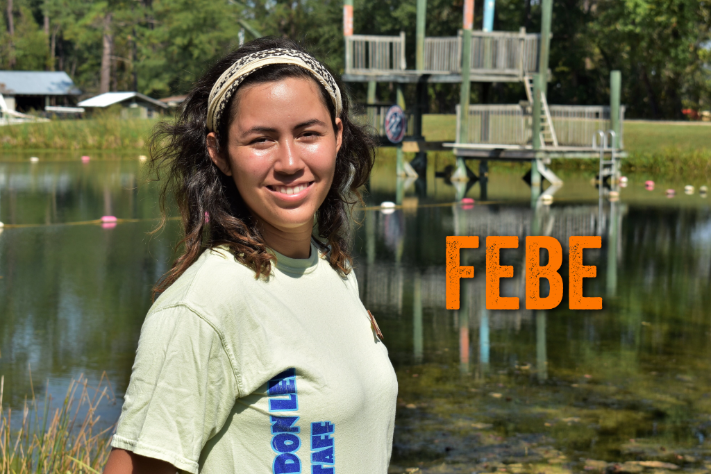 Hola!! My name is Febe Granados. I'm from Mexico and I studied Marine Biology at Florida Atlantic University. This is my second season at Camp Don Lee! My favorite Disney character is Cheshire Cat from Alice in Wonderland, because he likes riddles!