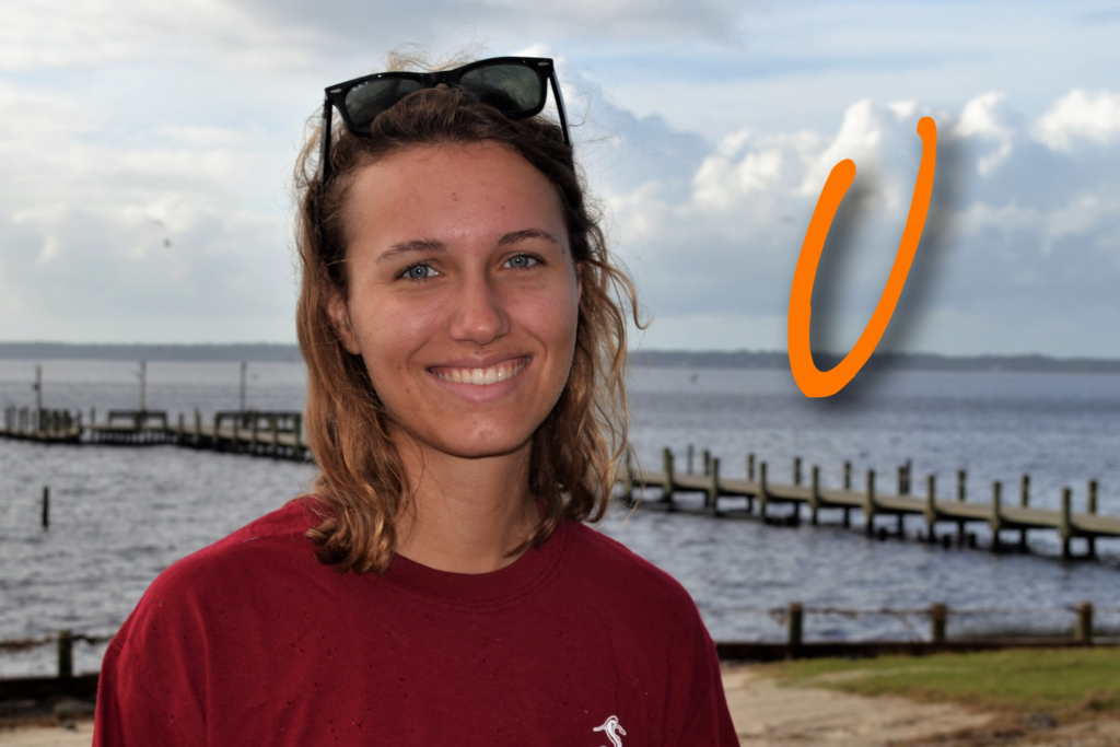 """Hi, my name is """"V"""" Timmins! I have been working at camp since last fall as retreat staff and counselor. This is my first season on Coastal Staff and I am excited to share my love for camp with all of you! My favorite sea creature is a Great White Shark."""