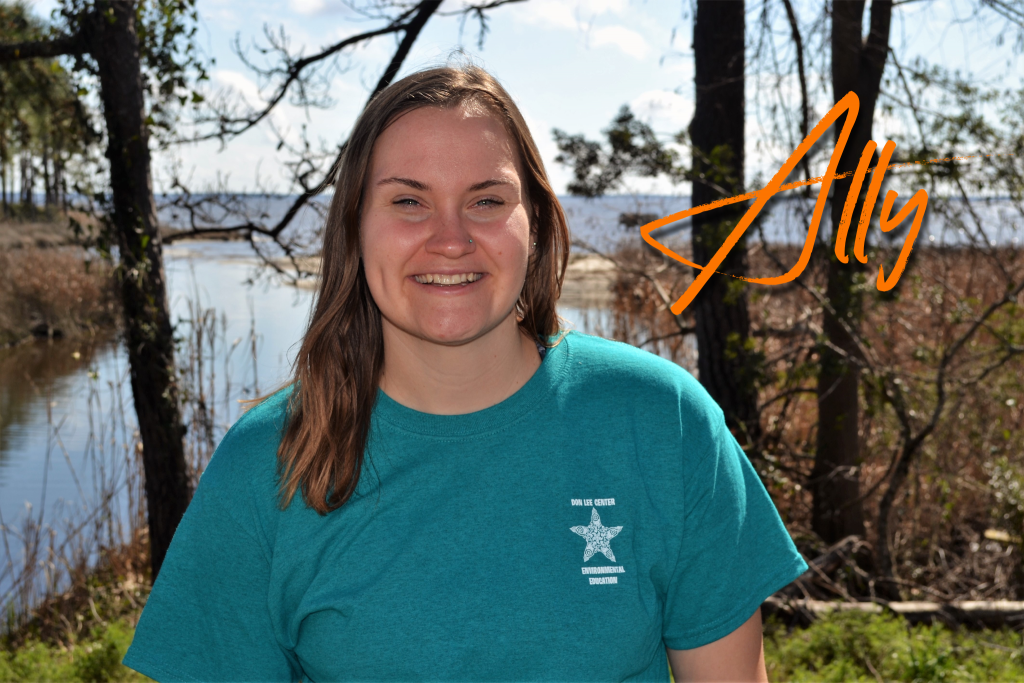 Hi, I'm Ally! I am the Assistant Environmental Education Coordinator at camp. This will be my 5th season working at camp and I love it here. In my free time you can find me crafting or outside adventuring. I also love helping the staff take care of the animals at camp.